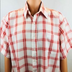 RUYIZ RedWhite Button Down Short Sleeve Shirt XXXL